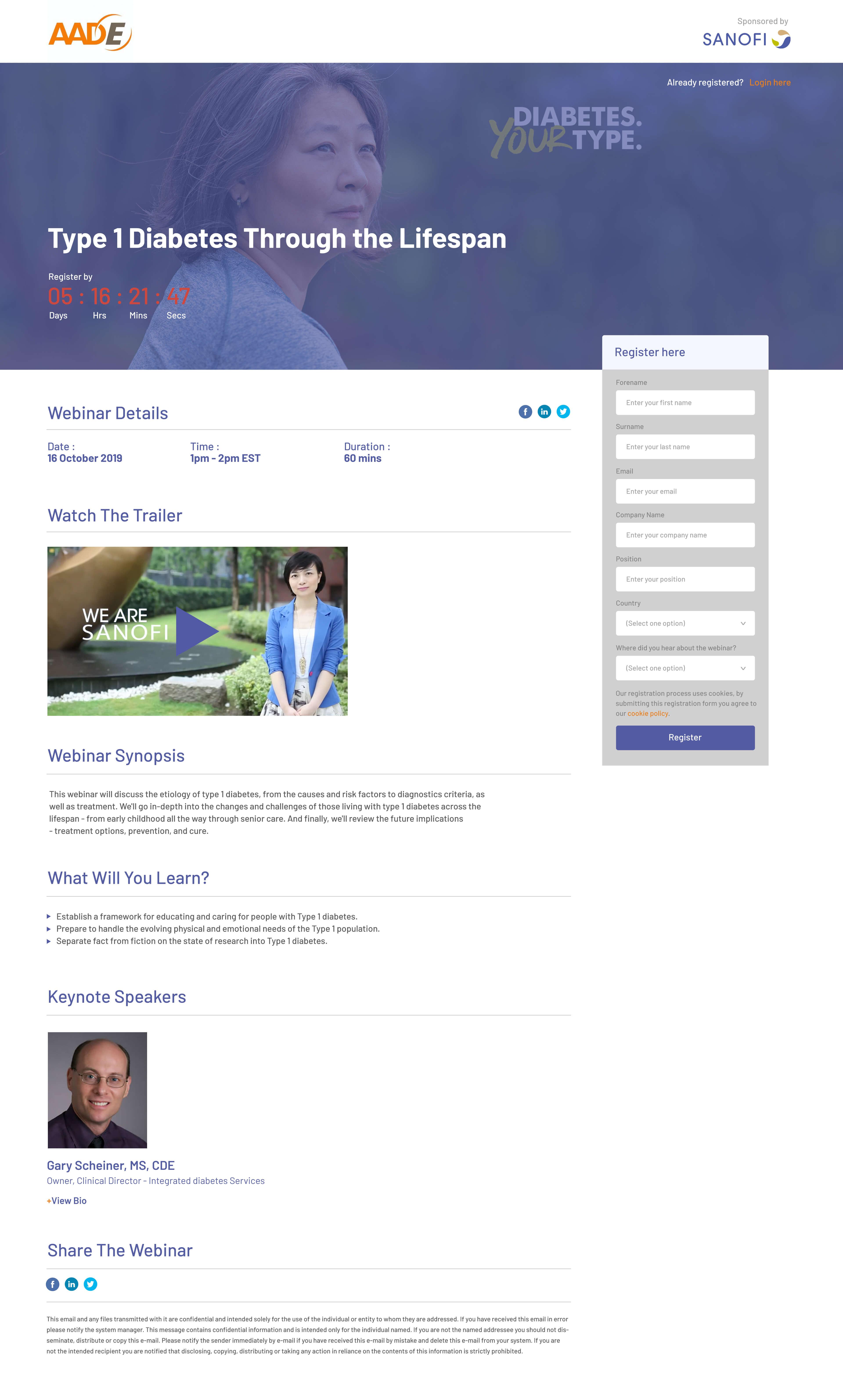 Sanofi Webinar Page Mockup