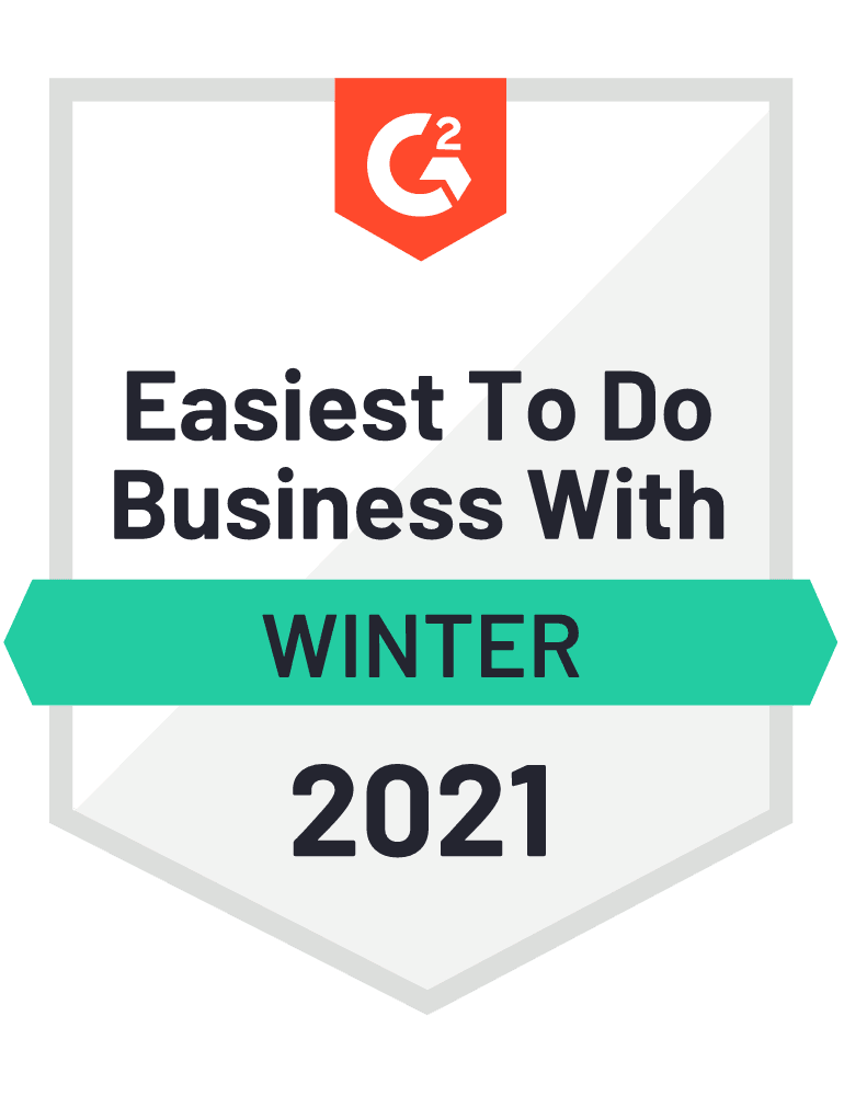 G2 Easiest To Do Business With Winter 2021